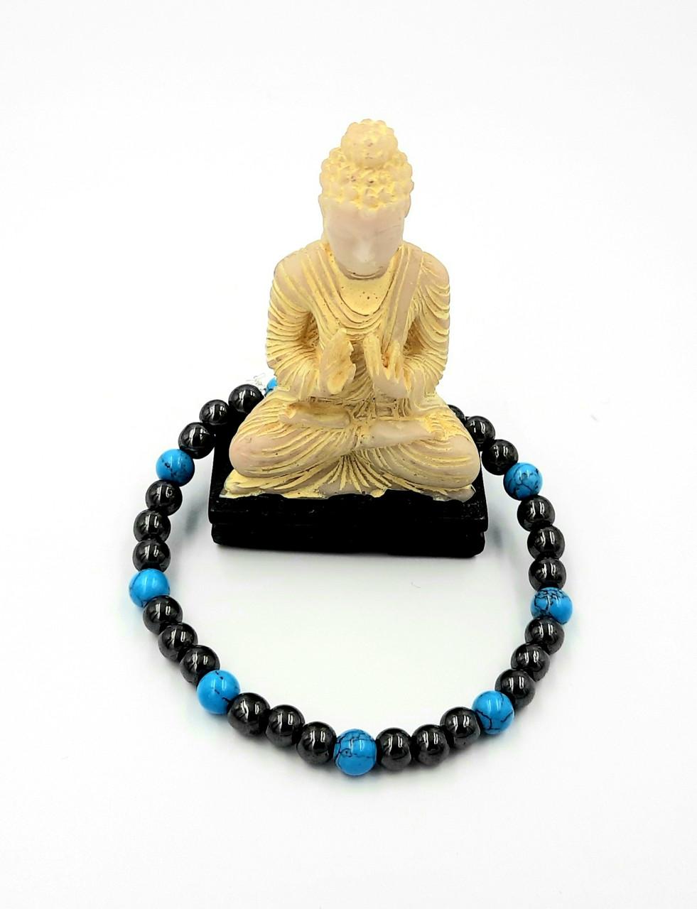 Браслет(d6) з натурального магнітного гематиту з синьою бірюзою, для здоров'я та схуднення, унісекс