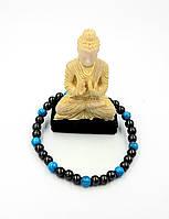 Браслет(d6) з натурального магнітного гематиту з синьою бірюзою, для здоров'я та схуднення, унісекс, фото 1