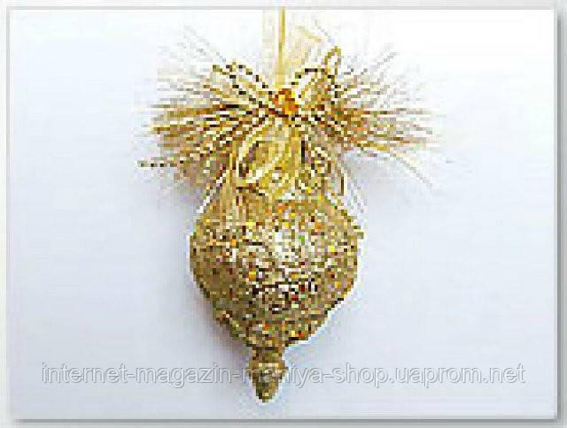 Елочное украшение в форме фигурного орнамента с декором, 13см