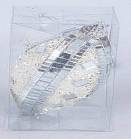 Елочная игрушка в форме оливы с зеркальным декором, 12см