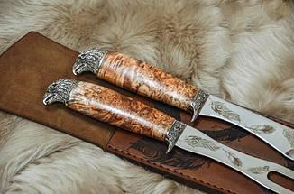 """Подарунковий набір аксесуарів для барбекю """"В подарунок для сина"""", з ножем і виделкою в шкіряному чохлі, фото 2"""