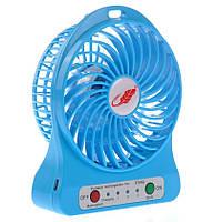Мини вентилятор mini fan с аккумулятором (Синий), фото 1