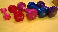 Женские гантели прорезиненные 0,5 кг для фитнеса.