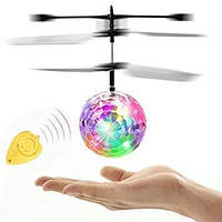 Летающий шар мяч вертолёт светящийся сенсор Flying Ball Air led sensor sphere Original size от руки, фото 1