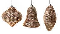 Елочн.украшение: луковица, олива, колокольчик (3 диз.микс), цвет шампань