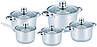 Набор кастрюль из нержавеющей стали 10 предметов Benson BN-207 (2,1 л, 2,1 л, 2,9 л, 3,9 л, 6,5 л) | кастрюля