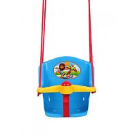 Детская качеля с пищалкой Технок 1790 Солнышко Голубая | качелька для ребенка | пластиковая подвесная качеля, фото 1