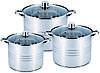 Набор кастрюль из нержавеющей стали 6 предметов для ресторанов и кафе Benson BN-215 (11 л, 13 л, 16 л)