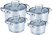 Набор кастрюль из нержавеющей стали 8 предметов Benson BN-202 (2,1 л, 2,9 л, 3,9 л, 6,5 л)   кастрюля, фото 1