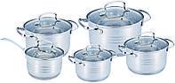 Набор кастрюль из нержавеющей стали 10 предметов Benson BN-203 (2,1 л, 2,1 л, 2,9 л, 3,9 л, 6,5 л) | кастрюля, фото 1