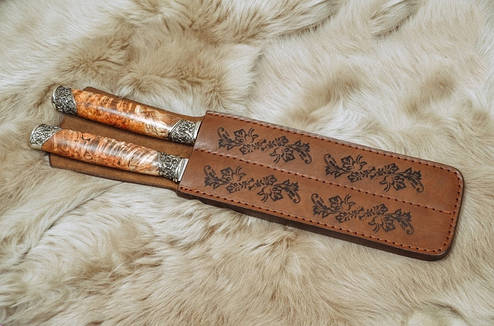 """Оригиналный набор аксессуаров для гриля """"В подарок куму"""", с вилкой и ножом в кожаном чехле, фото 2"""