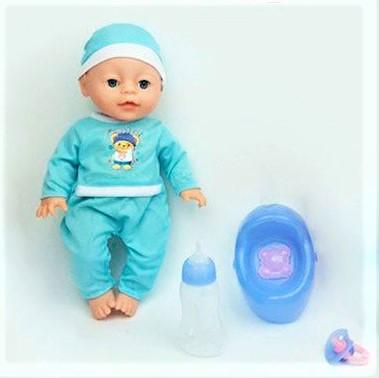 Пупс игрушечный реборн в голубой одежде YL 1712 H | детская куколка | горшок, подгузник, бутылочка, соска