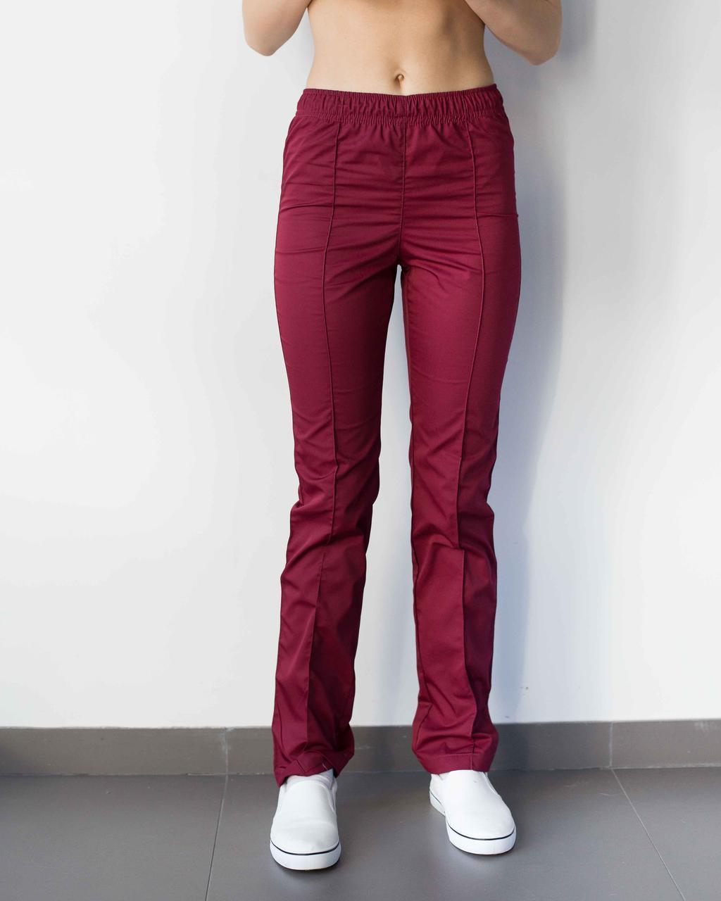 Медицинские женские брюки марсала