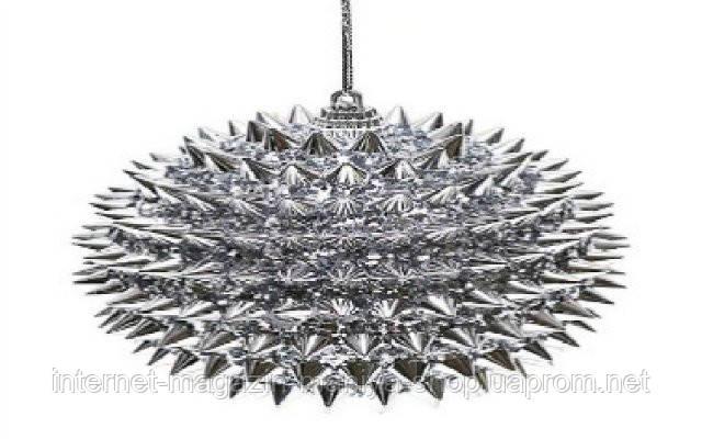 Елочный шар, 10 см, цвет - серебро
