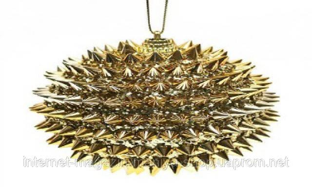 Елочный шар, 10 см, цвет - золото