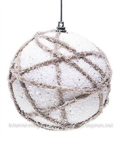 Елочный шар, 10 см, цвет - белый