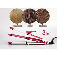Многофункциональная плойка для волос Gemei GM 2921 3 в 1: утюжок - щипцы - гофре | выпрямитель