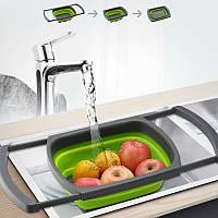 Складной дуршлаг Benson BN-091 | силиконовый друшлаг для мытья овощей и фруктов Бенсон | друшлак Бэнсон, фото 1