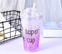 Стакан поликарбонатный охлаждающий с трубочкой ICE CUP Benson BN-283 фиолетовый   бутылочка со льдом Бенсон, фото 1