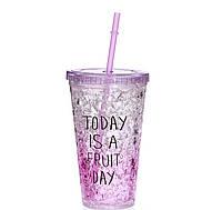 Стакан поликарбонатный охлаждающий с трубочкой ICE CUP Benson BN-284 фиолетовый | бутылочка со льдом Бенсон, фото 1