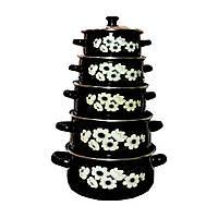 Набор эмалированных кастрюль с крышками Benson BN-079 черный (10 предметов) | кастрюля Бенсон, Бэнсон, фото 1