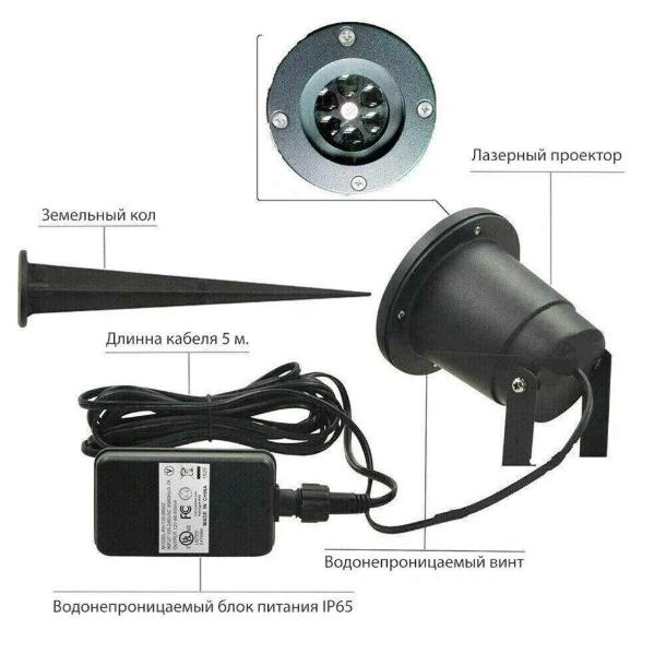 Лазерний проектор для будинку Star Shover СНІГ Криву №608 ZP | гірлянда лазерна підсвічування для будинку