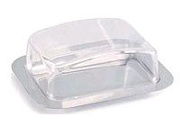 Масленка нержавеющая Benson BN-186 | тарелка с крышкой для масла Бенсон, емкость под масло Бэнсон, фото 1