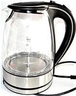 Стеклянный электрочайник Kingberg KB-2032 (1.7 л) | электрический чайник | чайник с подсветкой Кингберг, фото 1