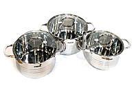 Набор кастрюль Benson BN-233 из нержавеющей стали 6 предметов | кастрюля с крышкой Бенсон, Бэнсон, фото 1