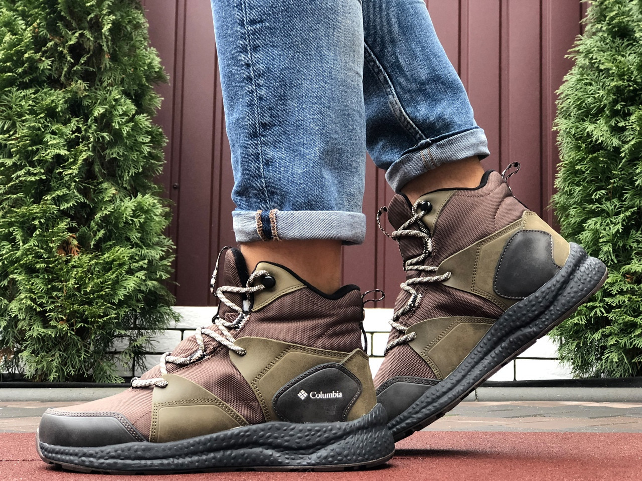 Мужские кроссовки зимние Columbia темно зеленые  ( зима )