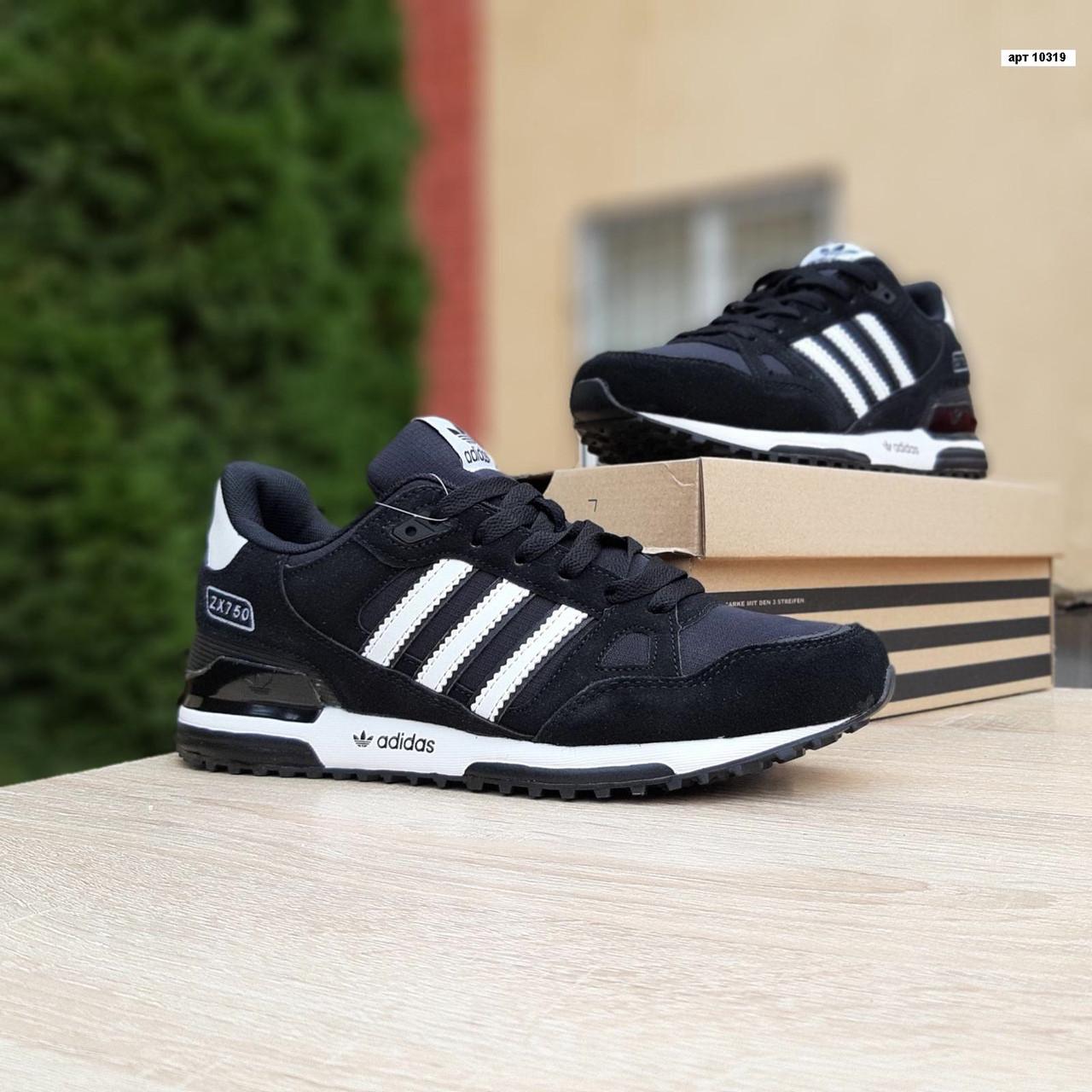 Мужские кроссовки Adidas ZX 750 Чёрные с белым