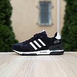 Мужские кроссовки Adidas ZX 750 Чёрные с белым, фото 4