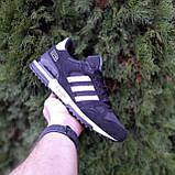 Мужские кроссовки Adidas ZX 750 Чёрные с белым, фото 9