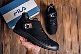 Мужские зимние кожаные ботинки FILA Black, фото 7