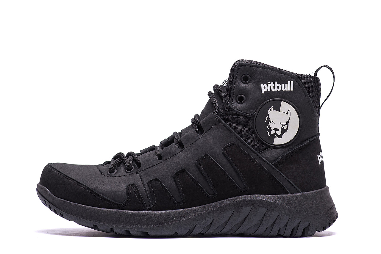 Мужские зимние кожаные ботинки Pitbull Black
