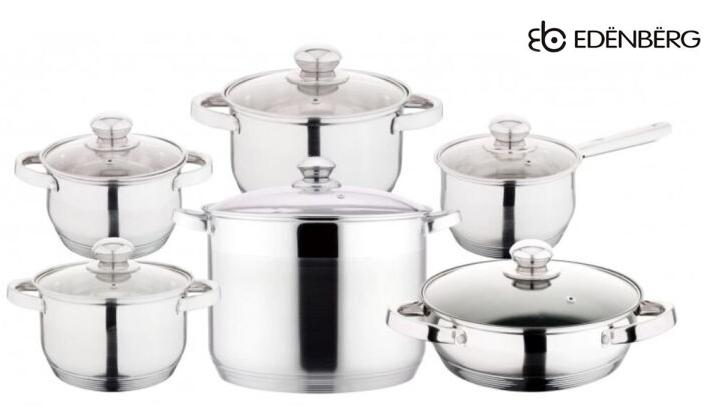 Набор посуды Edenberg EB-4010 кастрюли сотейник и ковш из 6 предметов
