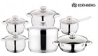 Набор посуды Edenberg EB-4010 кастрюли сотейник и ковш из 6 предметов, фото 1