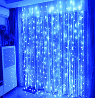 Гирлянда штора 300LED 3х2м RD-097 Синий | Новогодняя светодиодная уличная гирлянда, фото 1