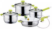 Набор кухонной посуды Bohmann ВН 08-435 8 предметов с крышками 2 кастрюли ковш и сковорода, фото 1