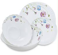 "Столовый набор ""Васильки"" Maestro MR-30066-19S (19 предм) | кухонные тарелки Маэстро | набор тарелок Маестро, фото 1"