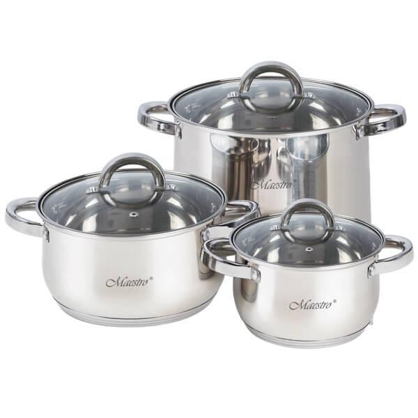 Набор посуды Maestro MR-2120-6L, 6 предметов, нержавеющая сталь | кастрюли с крышками Маэстро, Маестро