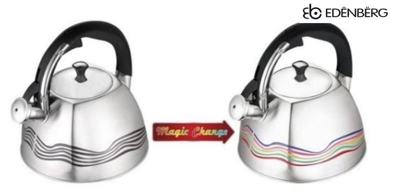 Чайник Edenberg EB-3542 со свистком из нержавеющей стали 3 л | Свистящий металлический чайник