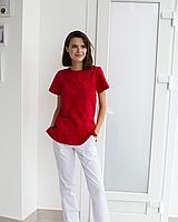 Медицинский женский костюм Жасмин красный-белый, фото 1