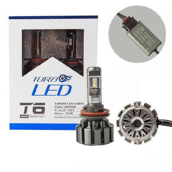 Светодиодные LED лампы T6 H11 для автомобиля   автолампы TurboLed 6000K/8000Lm   автомобильные лед лампы