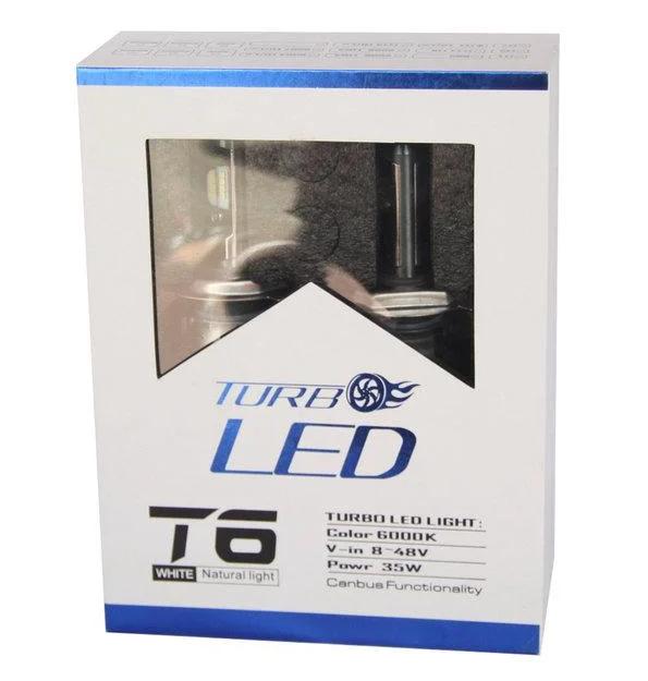 Светодиодные LED лампы T6 H7 для автомобиля   автолампы TurboLed 6000K/8000Lm   автомобильные лед лампы
