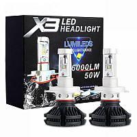 Светодиодные LED лампы X3 H7 для автомобиля | автолампы HEADLIGHT 8000K/6000Lm | автомобильные лед лампы, фото 1
