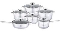 Набор кухонной посуды Bohmann ВН 71244-12 12 предметов 4 кастрюли ковш сковорода с крышками, фото 1