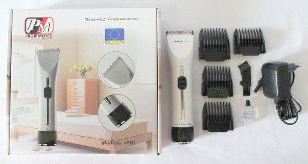 Профессиональная машинка - триммер для стрижки волос PROMOTEC PM-363 с насадками