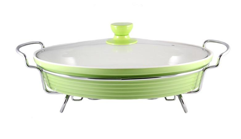 Мармит настольный керамический Maestro MR-11459-74 зеленый, блюдо с подогревом на подставке Маэстро, Маестро