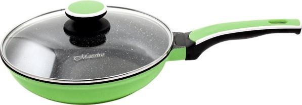 Сковорода с антипригарным покрытием с крышкой Maestro Ceramic MR-1220-28 зеленая | сковородка Маэстро, Маестро